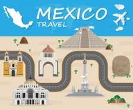 Infographic för lopp och för resa för Mexico gränsmärke global vektor stock illustrationer