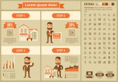 Infographic för Real Estate lägenhetdesign mall Arkivfoto