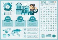 Infographic för Real Estate lägenhetdesign mall Royaltyfri Bild