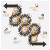 Infographic för rutt för kurva för väg- och gataaffärslopp diagram stock illustrationer