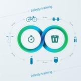 Infographic för utbildning med det Mobius bandet Arkivbilder