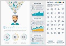 Infographic för utbildningslägenhetdesign mall Arkivfoto