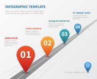Infographic företagstimelinevektor Milstolpeväg med pekare vektor illustrationer