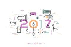 Infographic-Fahne, 2017-jährig von den Gelegenheiten Tendenzen, Vorhersagen und Erwartungen in den Social Media-Technologien lizenzfreie abbildung
