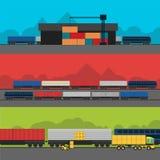 Infographic Fahnensatz der Logistik Flacher Vektor Stockfoto