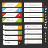Infographic Fahnenset Rand der Farbband-, Lorbeer- und Eichenblätter Stockfoto