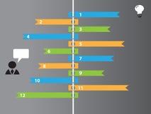 Infographic-Farbaufkleber mit Geschäftsikonen Lizenzfreies Stockbild