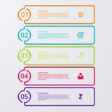 Infographic fem alternativ för vektorillustration med världskartan Royaltyfria Bilder