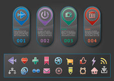 Infographic with Figures and social icons Stock Images