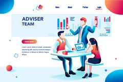 Infographic with Financial Planner Corporate Chart. Analyst, financial banner. Planner, corporate earning calculate, data discussion. Consultant concept vector illustration