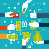 Infographic finansiellt flödesdiagram för pengaröverföring vektor illustrationer
