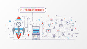 Infographic Fintechopstarten Financiële technologie en nieuwe handelsinvesteringen met blockchaintechnologie Royalty-vrije Stock Fotografie
