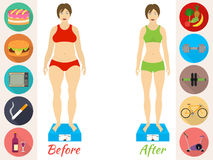Infographic of fitness and sport, healthy lifestyle, women exists before - after the diet. Infographic of fitness and sport, healthy lifestyle, women exists stock images