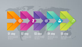 Infographic five step with 3d triangle arrow. Timeline infographic five step with 3d triangle arrow Royalty Free Stock Photography