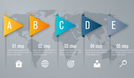 Infographic five step with 3d triangle arrow. Timeline infographic five step with 3d triangle arrow Stock Images