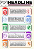Infographic five step template, process visualization, 3d cyklinder graphic elements, abstract vector with icons and. Copy space, five multicolored elements Stock Photo