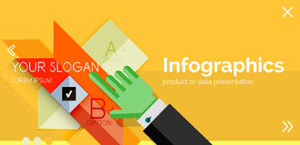 Infographic flat design banner with hands Royalty Free Stock Photo