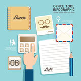 Infographic flat design icons office tool concept vector. Royalty Free Stock Image
