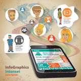 Infographic Flat Design Illustration for global phone contacts Stock Image
