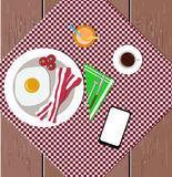 Infographic flat lay food, juice, coffee, bacon, eggs, cherry to Stock Photos