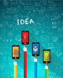 Infographic Flat style with Hands poitings to smartphones mockups Royalty Free Stock Photography