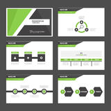 黑和绿色介绍模板Infographic元素和象平的设计集合广告营销小册子flye 免版税库存图片