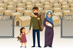 Infographic flyktingar Socialhjälp för flyktingar arabisk familj mall för restaurang för begreppsdesign Flyktinginvandringbegrepp Royaltyfri Foto