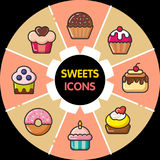 Infographic food icons_cupcakes Royalty Free Stock Photos