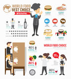 Infographic food world template design . concept vector . Stock Image