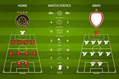 Infographic fotboll- eller fotbollsmatchstatistik Plan design också vektor för coreldrawillustration Arkivbilder
