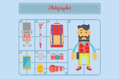 Infographic fotograf och uppsättning av retro stil för hjälpmedelvektor royaltyfri illustrationer