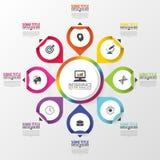Infographic äganderätt för home tangent för affärsidé som guld- ner skyen till Färgrik cirkel med symboler också vektor för corel Arkivfoto