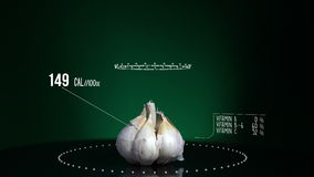 Infographic of Garlic with vitamins, microelements minerals. Energy, calorie and component. Very useful for food and vegetable backgrounds stock video