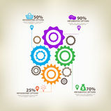 Infographic gears with axis Stock Photo
