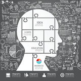 Infographic gehen Laubsäge mit Gekritzel Federzeichnungserfolg voran Lizenzfreies Stockbild