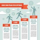 Infographic-Geschäfts-Konzeptillustration Geschäftsleute, Schritte, Gänge, Wolken und Origamifahne Stockfotos