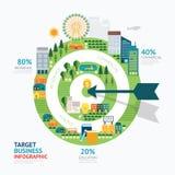 Infographic-Geschäftspfeil und Zielformschablone entwerfen rout Lizenzfreies Stockbild