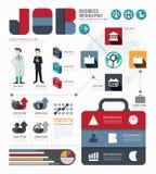 Infographic-Geschäftsweltjob-Schablonendesign Konzeptvektor Lizenzfreies Stockfoto