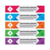 Infographic-Geschäftskonzept - farbige horizontale Vektorfahnen Infographic Schablone Infographics-Gestaltungselemente Stockbilder