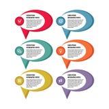 Infographic-Geschäftskonzept - farbige Vektorfahnen Infographic Schablone Vektorikonen stellten ein Vier Schneeflocken auf weißem Lizenzfreie Stockfotografie