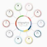 Infographic-Gestaltungselemente für Ihre kommerziellen Daten mit 10 Wahlen, Teilen, Schritten, Zeitachsen oder Prozessen Stock Abbildung