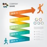 Infographic gewundenes Thema des Meilensteines und der Zeitachse Lizenzfreie Stockfotografie