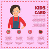 Infographic with girl and farm animals Royalty Free Stock Photos
