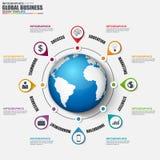 Infographic globaal bedrijfs vectorontwerpmalplaatje Stock Afbeelding