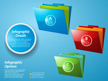 Infographic with glossy folders on blue background Royalty Free Stock Image