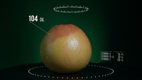 Infographic of Grapefruit with vitamins, microelements minerals. Energy, calorie and component. Very useful for food and fruit backgrounds stock video