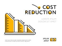 Simple graph with cost reduction chart vector illustration