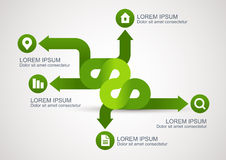 Infographic green arrows with icons, vector background template Royalty Free Stock Image
