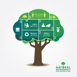 Infographic Green Tree jigsaw banner.environment concept vector. Illustration Stock Photos