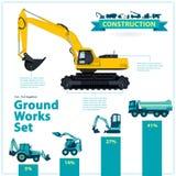Infographic großer Satz der Baumaschinen Fundamente bearbeitet Fahrzeuge auf weißem Hintergrund maschinell Lizenzfreie Stockbilder